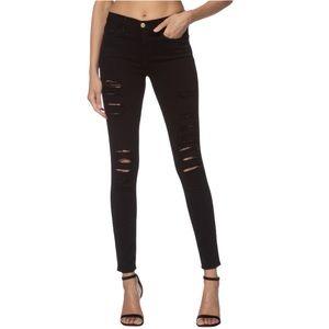 FRAME Le Skinny de Jeanne Ripped Jeans Film Noir